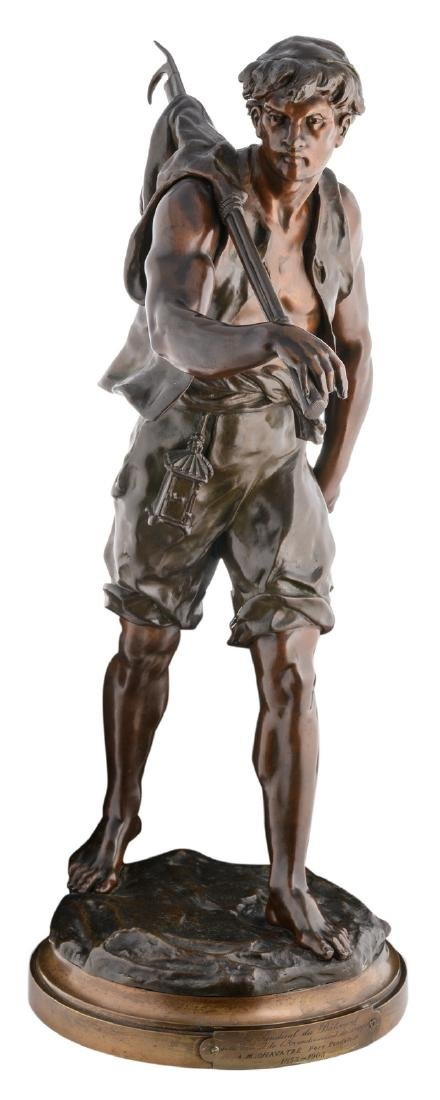 Picault E., the whaler, patinated bronze, with