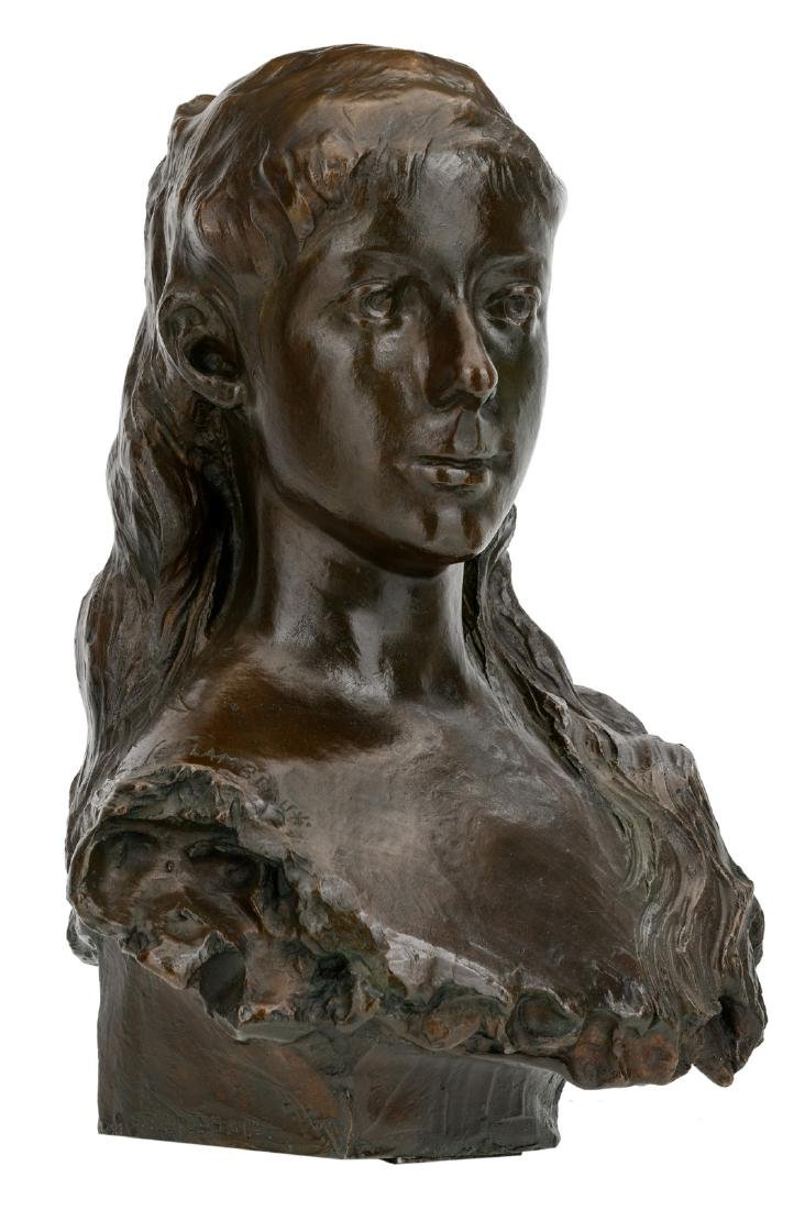 Lambeaux J., a bust of a young lady, patinated bronze,