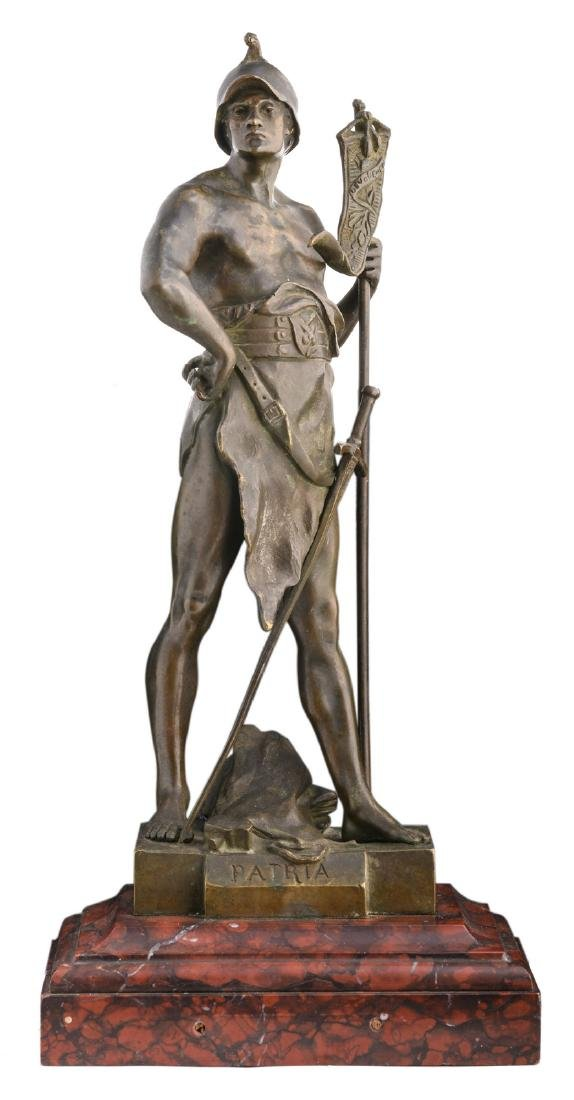 Picault E., 'Patria', bronze on a rouge imperial marble