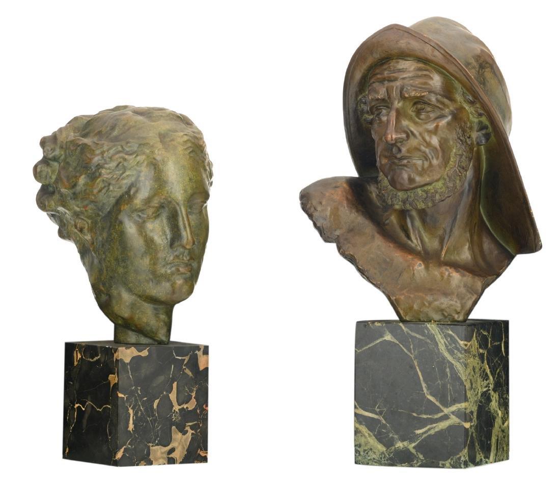 Dommisse J., a fisherman's head, patinated terracotta