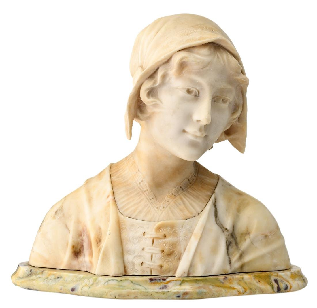 Sacchi, a bust of a lady, marble and alabaster, H 35,5