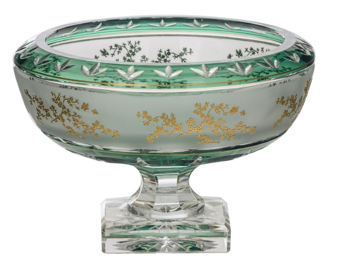 A decorative green overlay Val-Saint-Lambert crystal