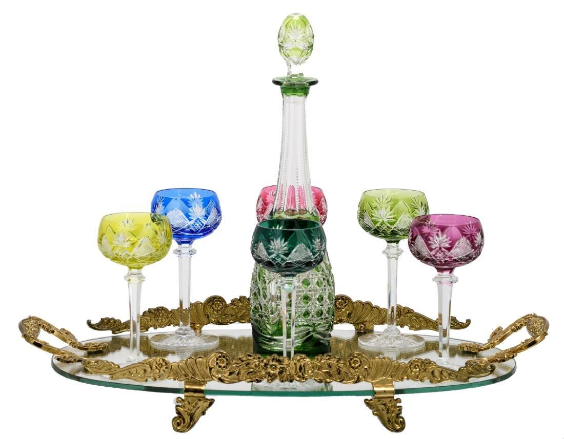A Val-Saint-Lambert set of six crystal cut rummers, one