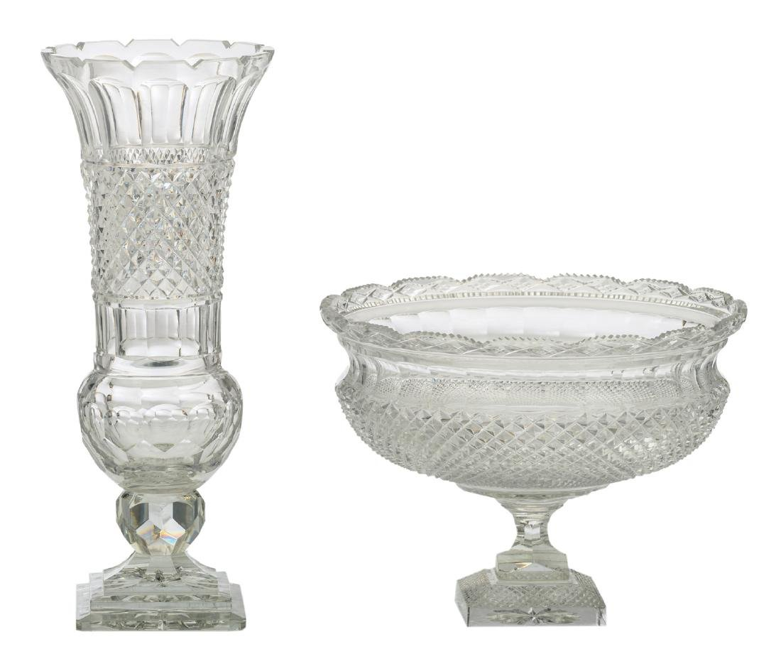 A diamond cut to clear crystal vase and footed bowl, H