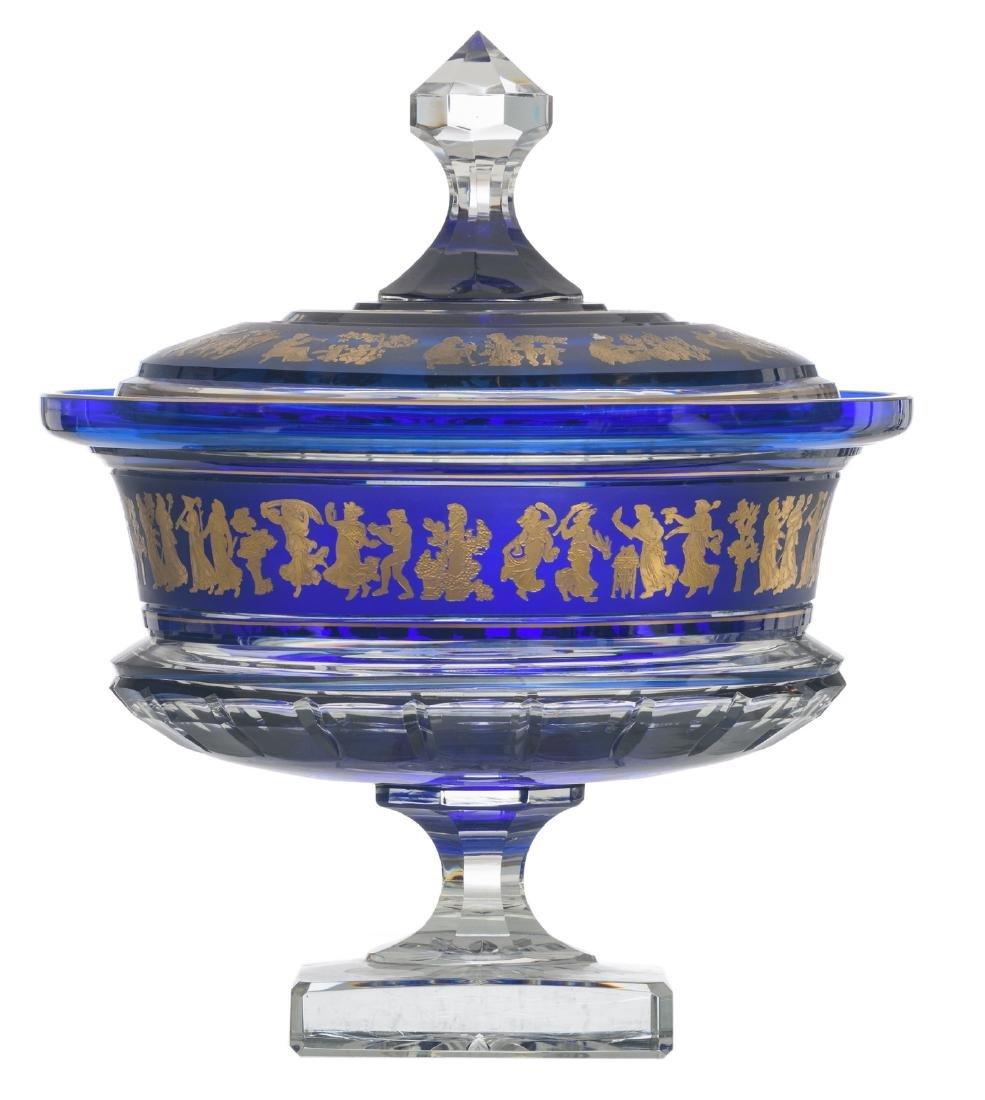 A decorative blue overlay Val-Saint-Lambert crystal cut