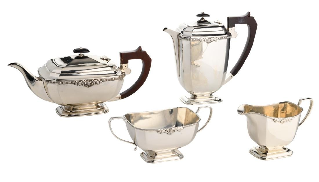 An English four-part silver coffee and tea set,