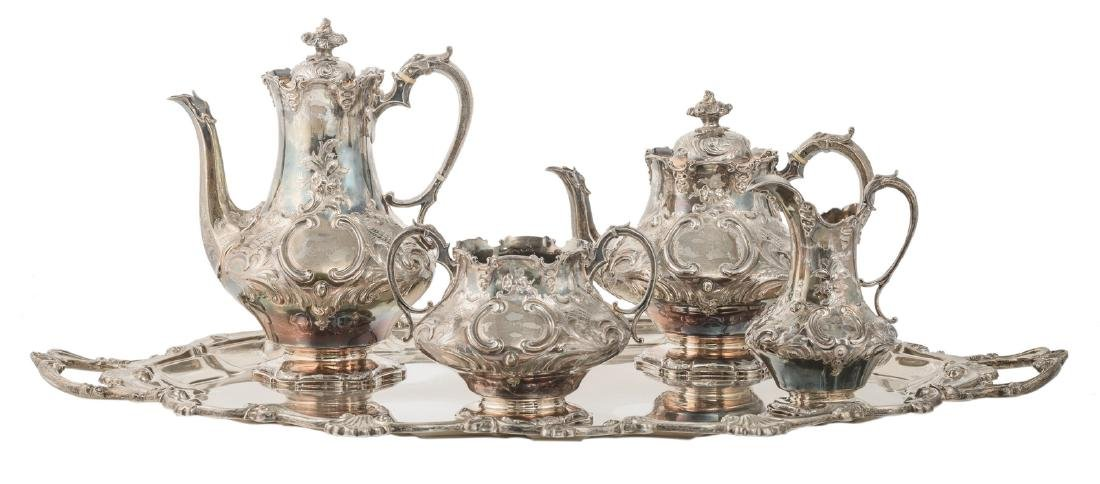 A late Victorian five-part silver coffee and tea set,