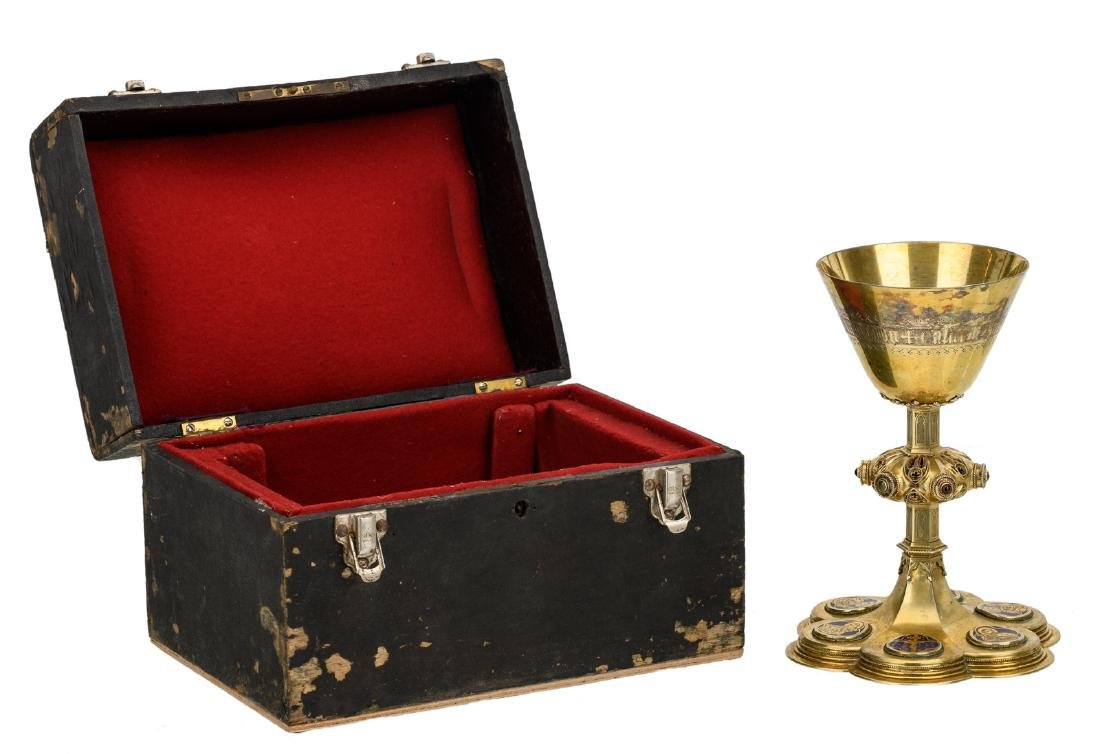 A gilt silver Gothic revival chalice, set with