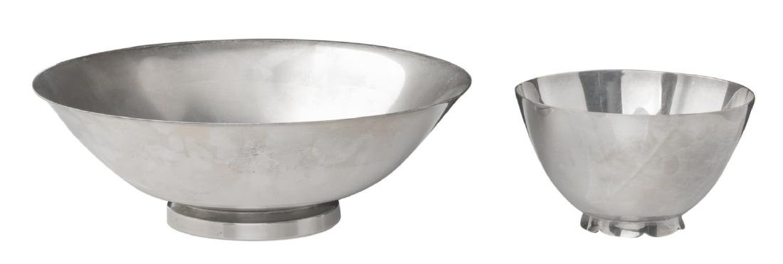 Two sterling silver bowls; the smaller bowl by Tiffany