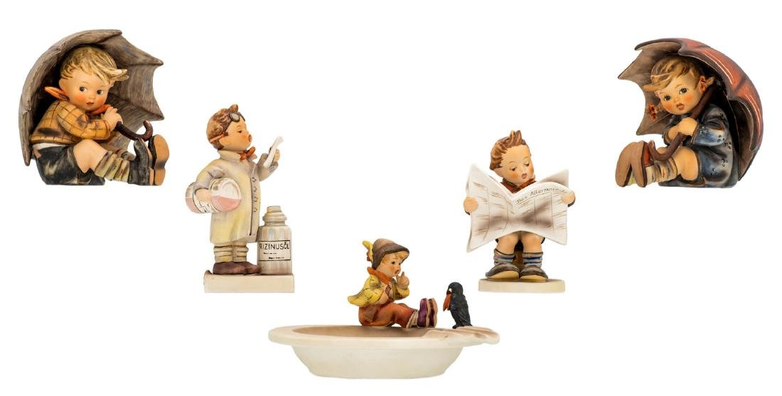 Five Goebel and Hummel figurines, including one