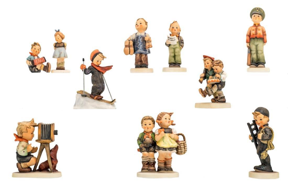 Ten Goebel and Hummel figurines, H 7 - 13 cm