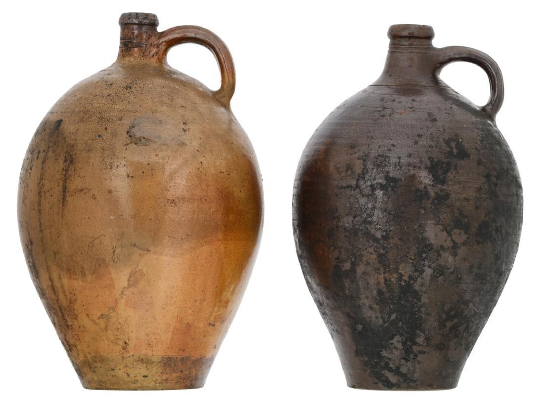 Two 18thC stoneware jugs, H 47 - 48 cm