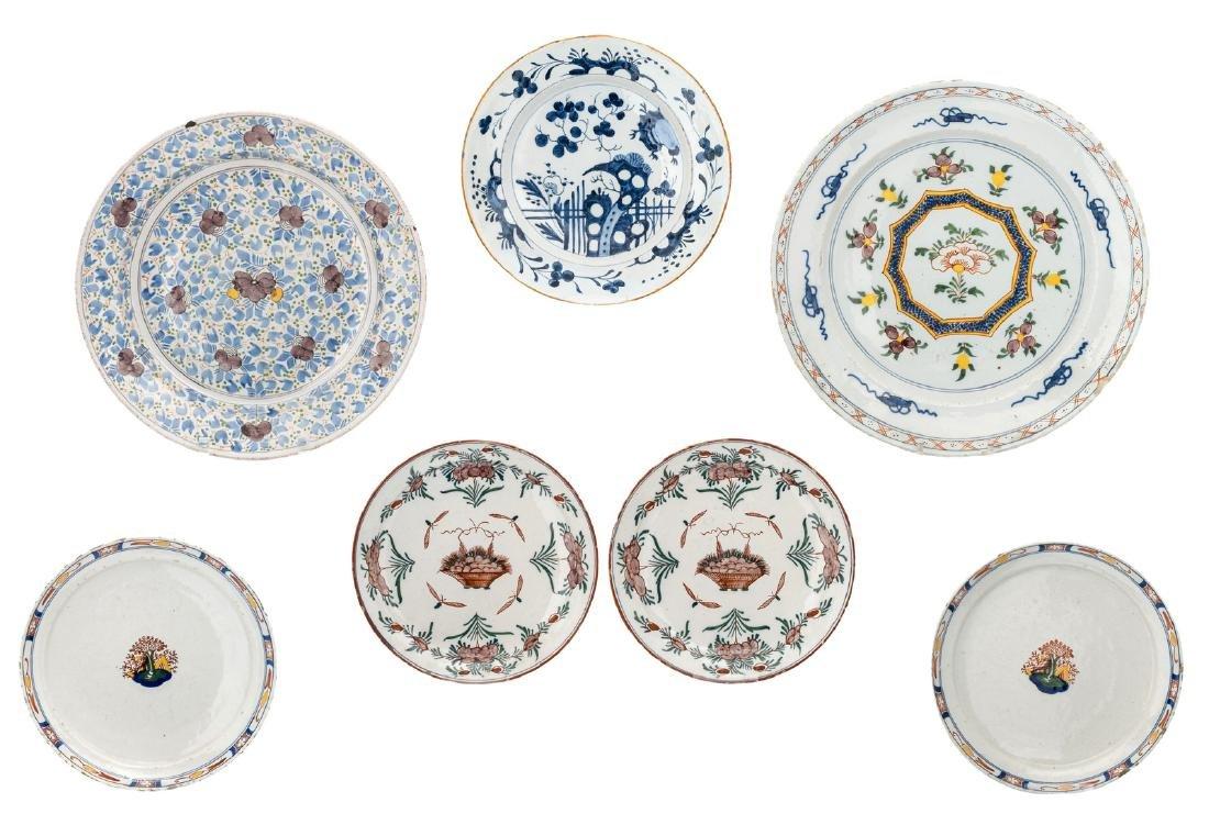 Seven 18thC tin glazed polychrome Dutch Delftware