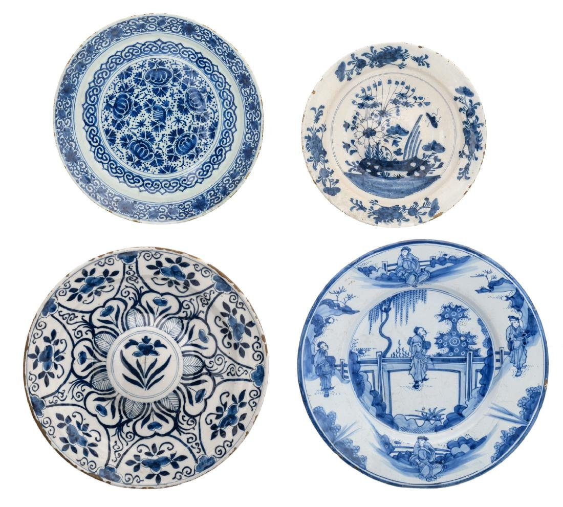 Four 17th and 18thC tin glazed blue and white Dutch