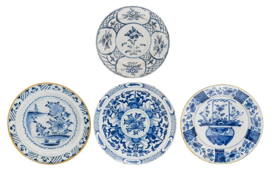 Four 18thC tin glazed blue and white Dutch Delftware