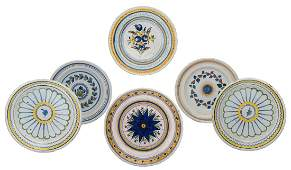 Six different 18th and 19thC tin glazed polychrome