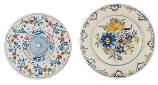 Two 18th - 19thC tin glazed polychrome decorated