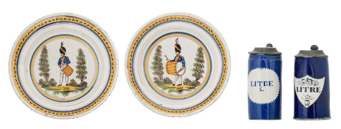 Two Brussels early 19thC polychrome tin glazed