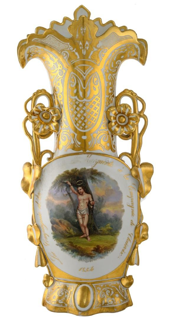 A 19thC old Paris porcelain shooters trophy 'La