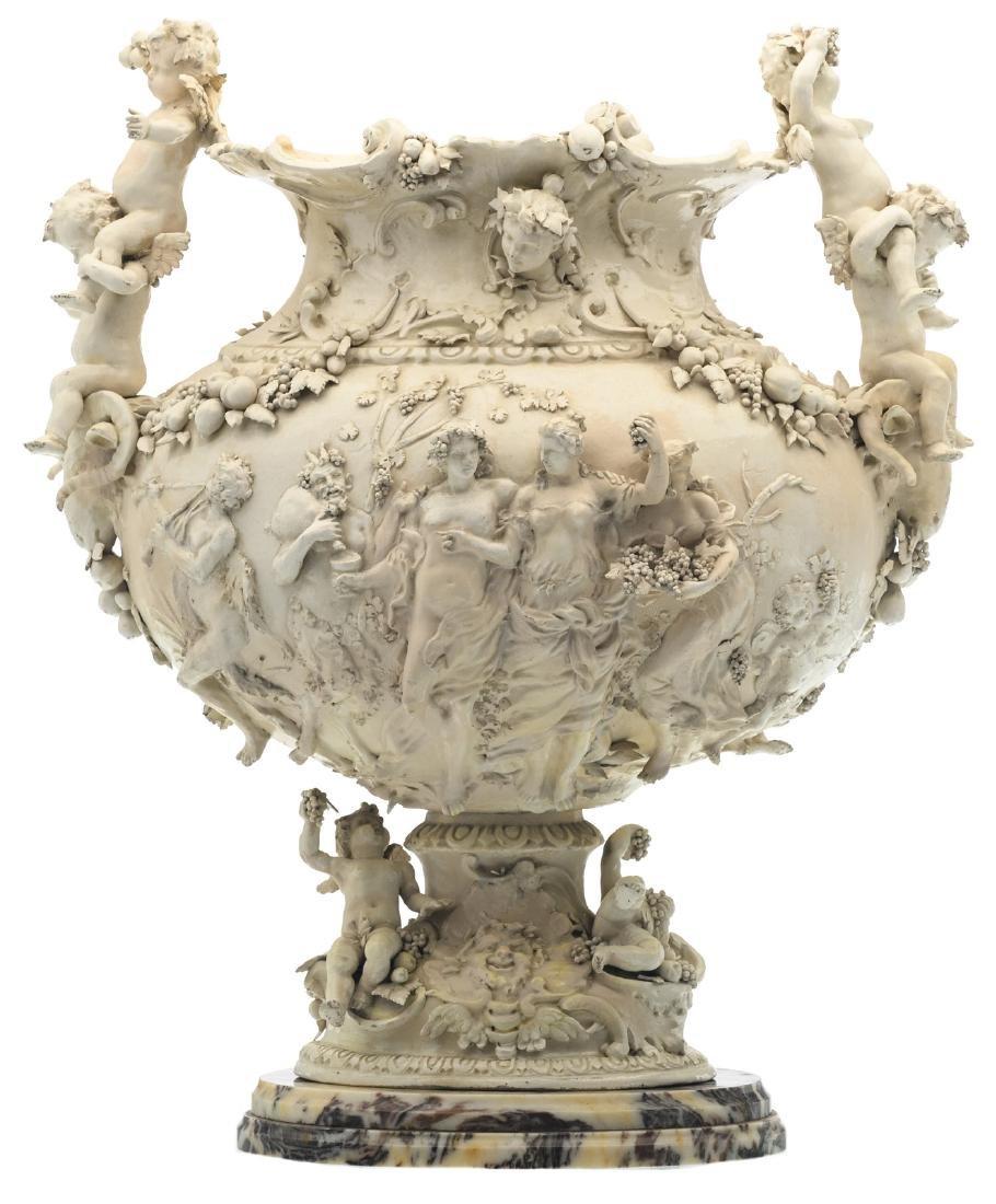 A decorative vase depicting a Bacchus procession,