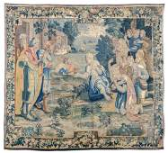 A fine 17thC Flemish wool and silk tapestry depicting a