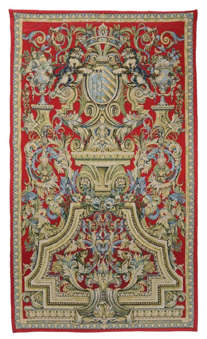 A decorative armorial wool tapestry with the Louvois