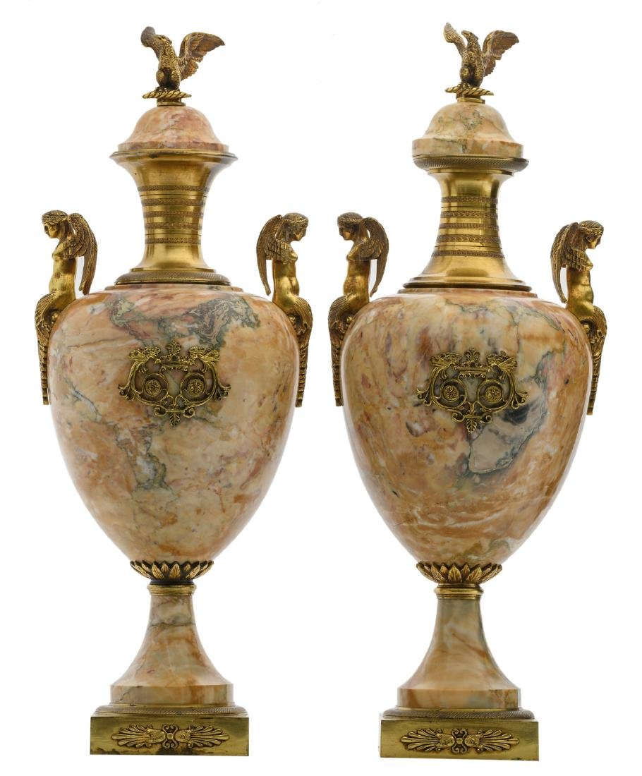 A pair of Neoclassical marble cassolettes with gilt