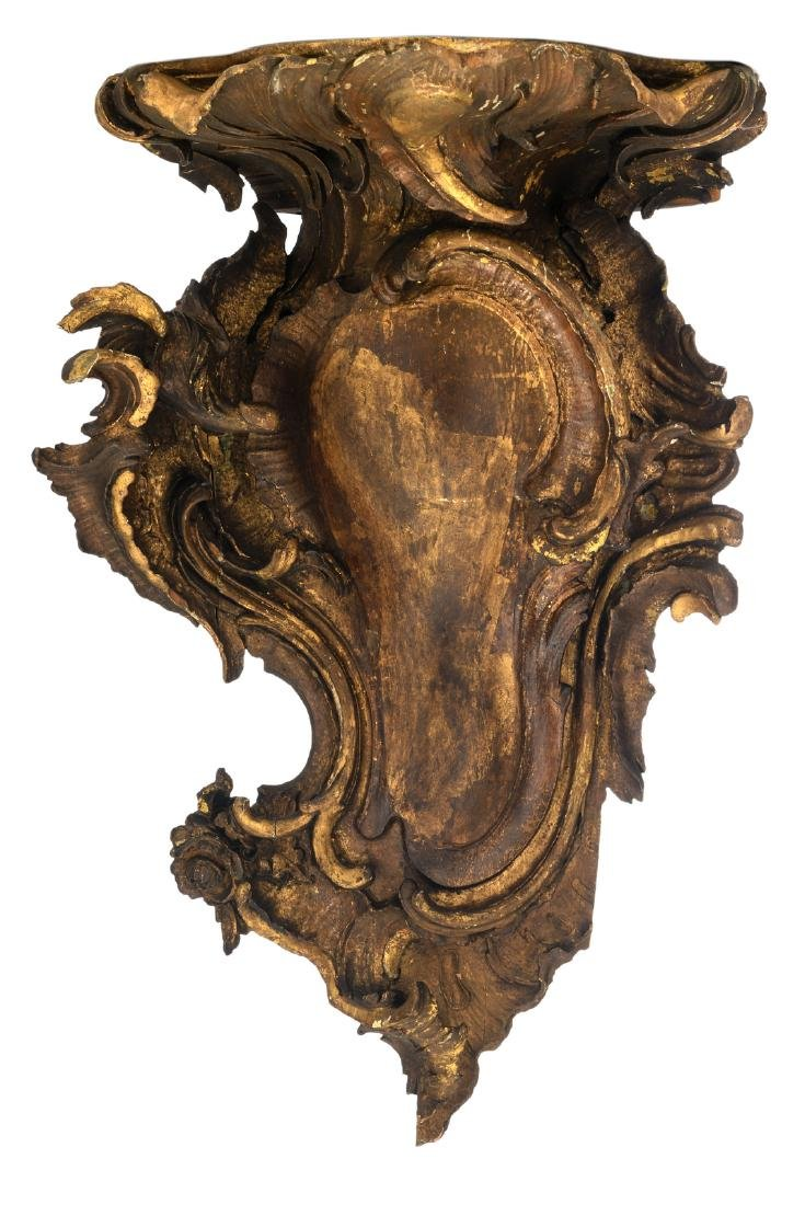 An 18thC Rococo style carved gilt wood base, H 60 cm