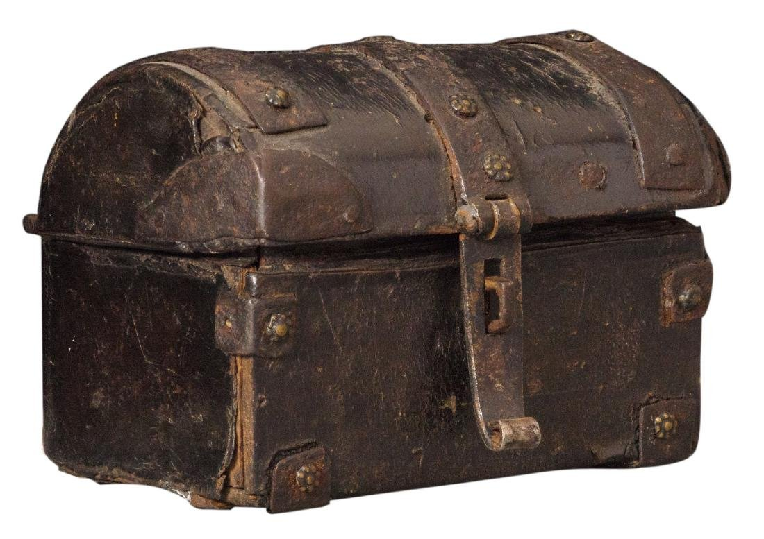 A 16thC leather iron mounted casket, H 8 - W 10 - D 8