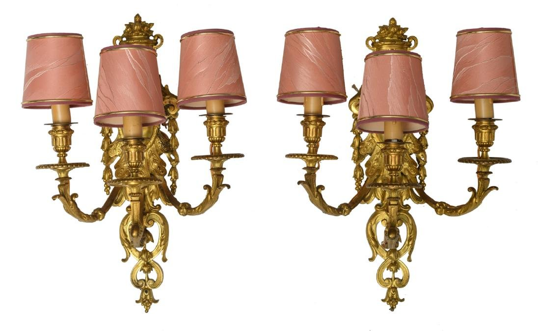 Two gilt bronze early Rococo style wall appliques, H 48