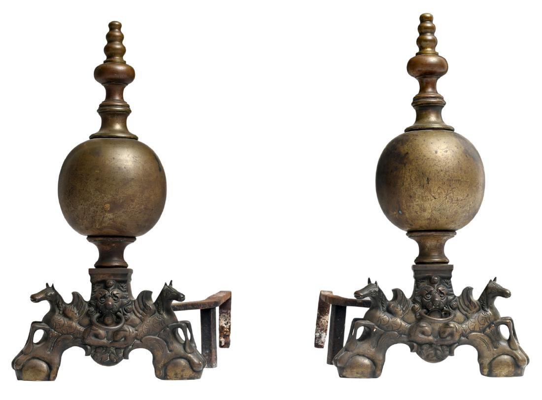 Two 19thC Baroque revival andirons, H 70 - W 37 - D
