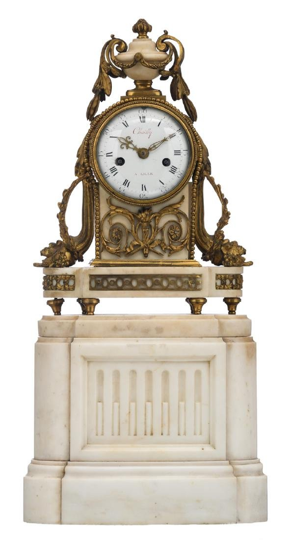 A late 19thC Neoclassical Carrara marble and gilt