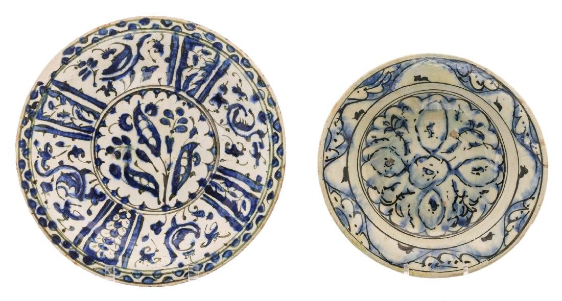 Two antique blue Persian dishes, ø 25,5 - 30 cm