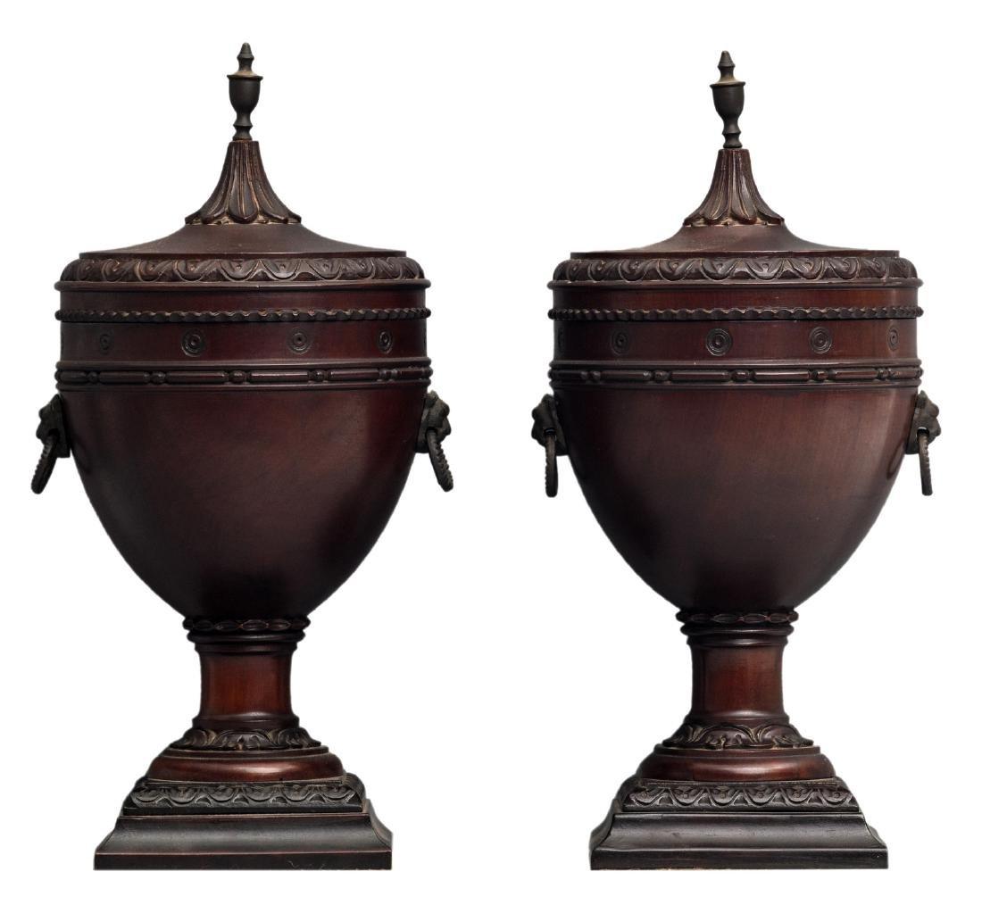 A pair of Regency style tobacco jars, H 32 cm
