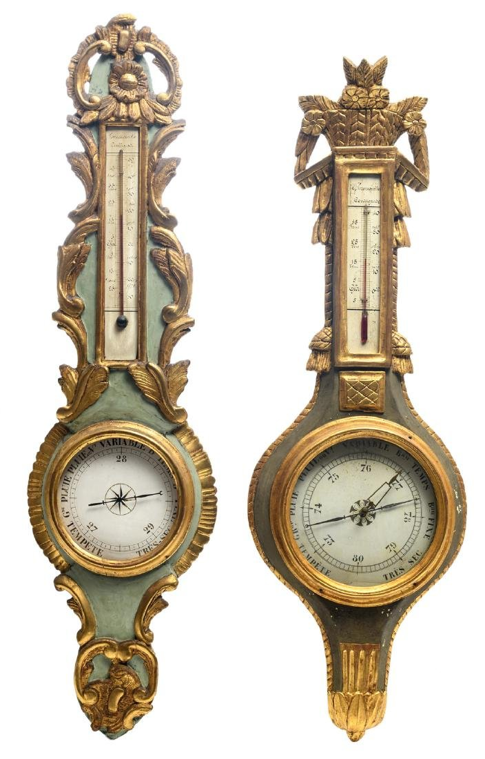 Two polychrome decorated and gilt wood barometers in