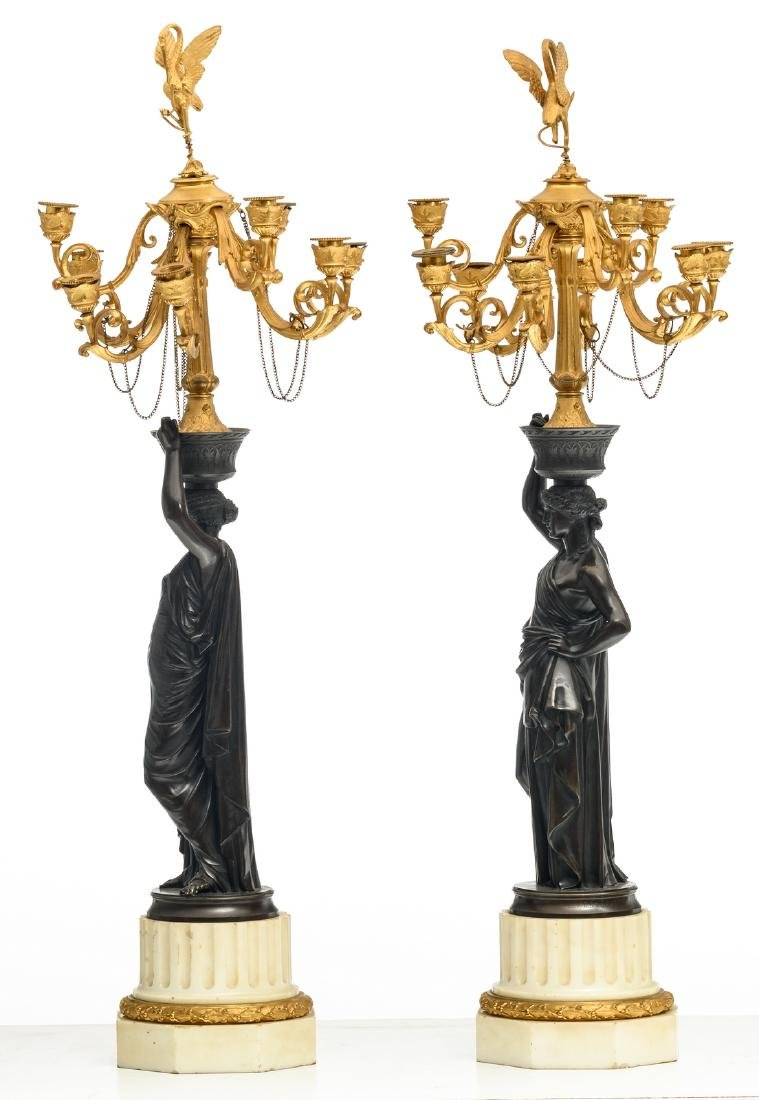 A pair of patinated and gilt bronze Historism - 2