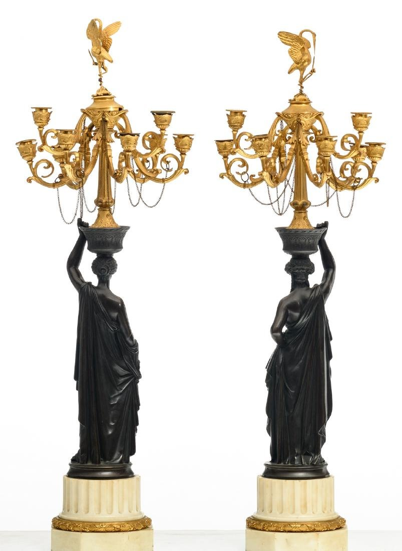 A pair of patinated and gilt bronze Historism - 3