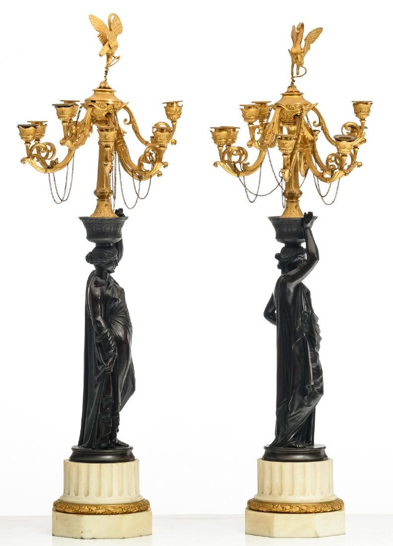 A pair of patinated and gilt bronze Historism - 4