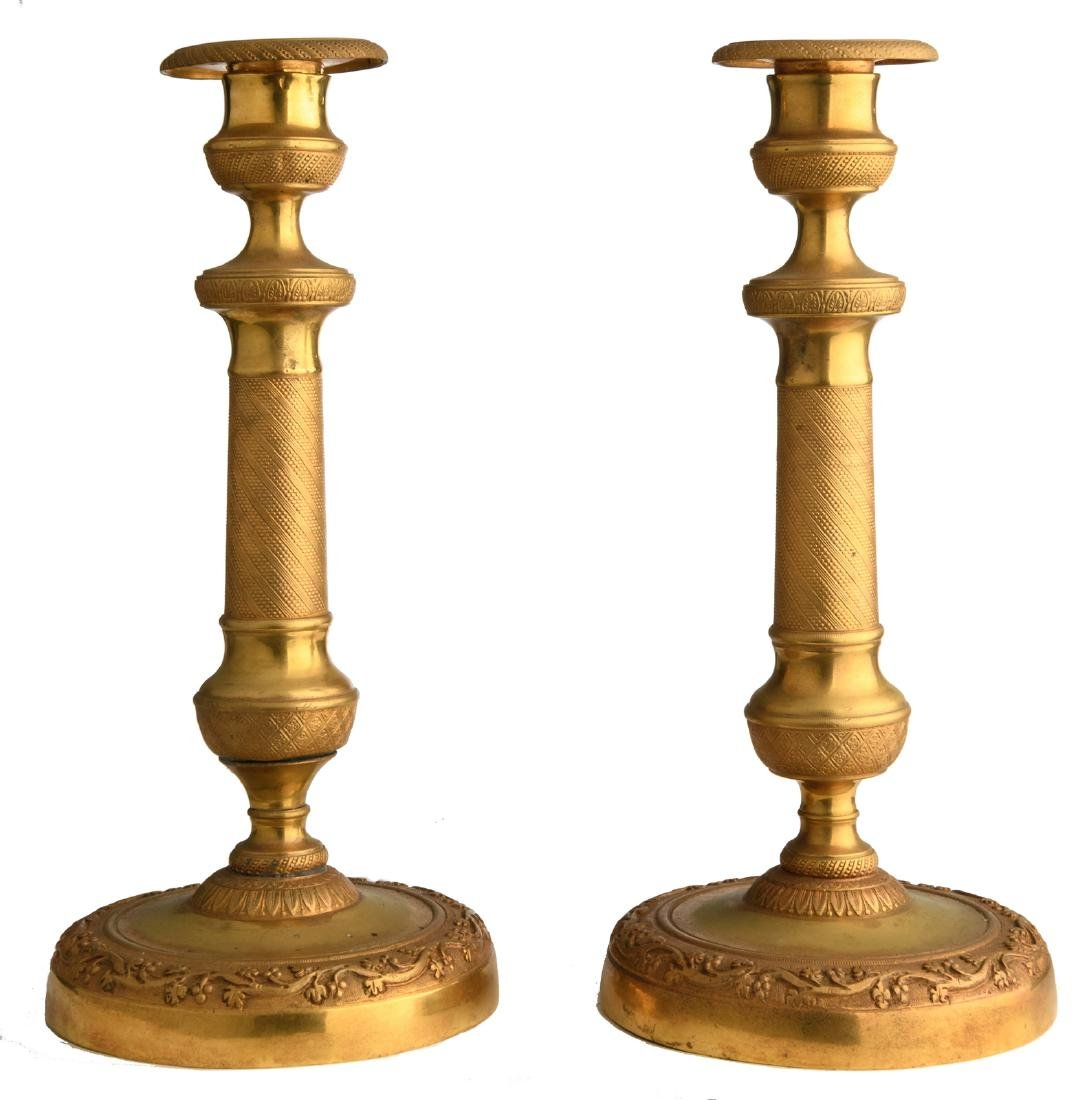 A pair of second half of the 19thC gilt bronze