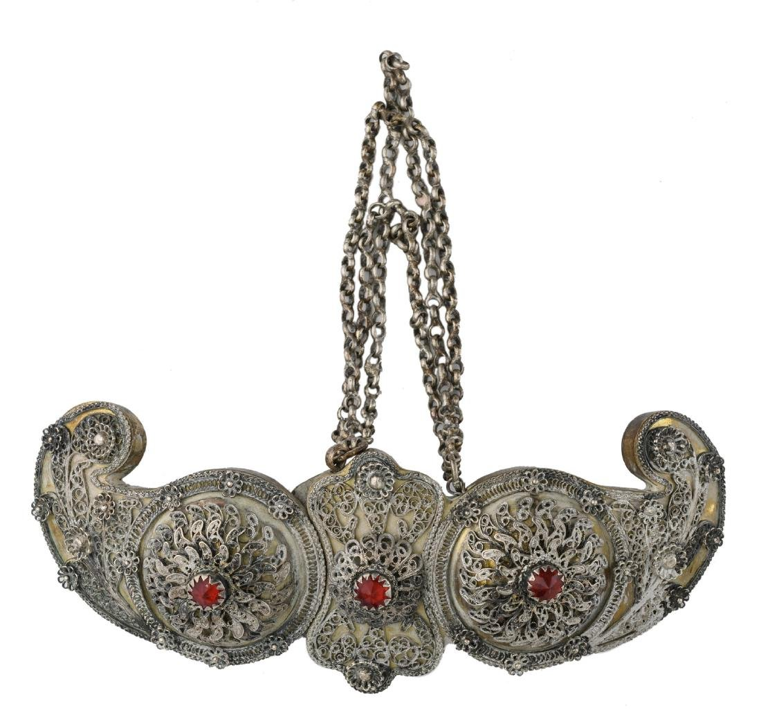 An Oriental/Middle Eastern silver plated brass silver