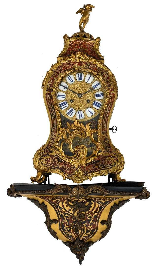 A 19thC Rococo style gilt bronze mounted Boulle cartel