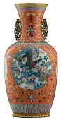 A fine Chinese orange ground famille rose baluster