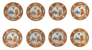 A set of eight 18thC Imari palette decorated Chinese