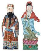 Two Chinese polychrome decorated figures, depicting Lu