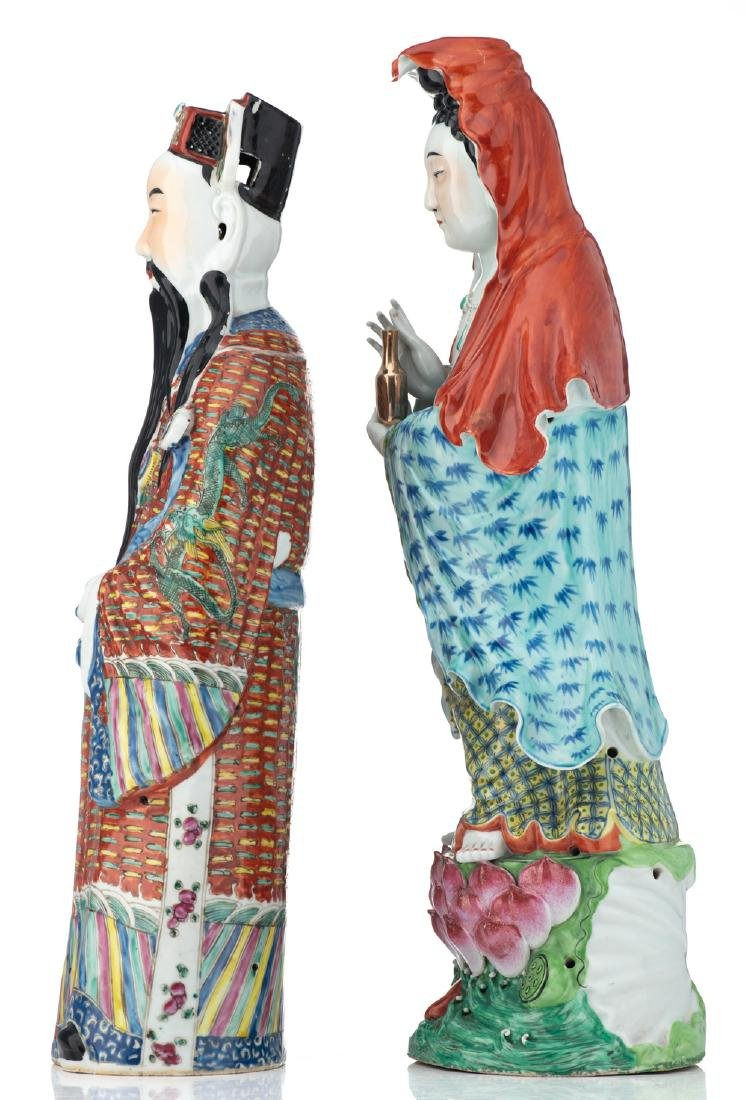 Two Chinese polychrome decorated figures, depicting Lu - 2