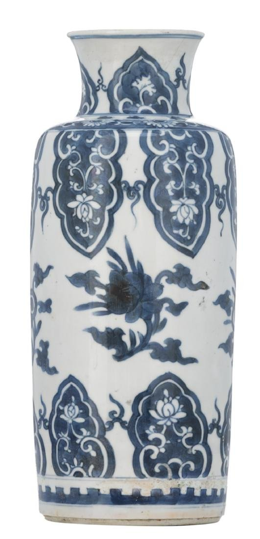 A Chinese blue and white cylindrical vase, decorated