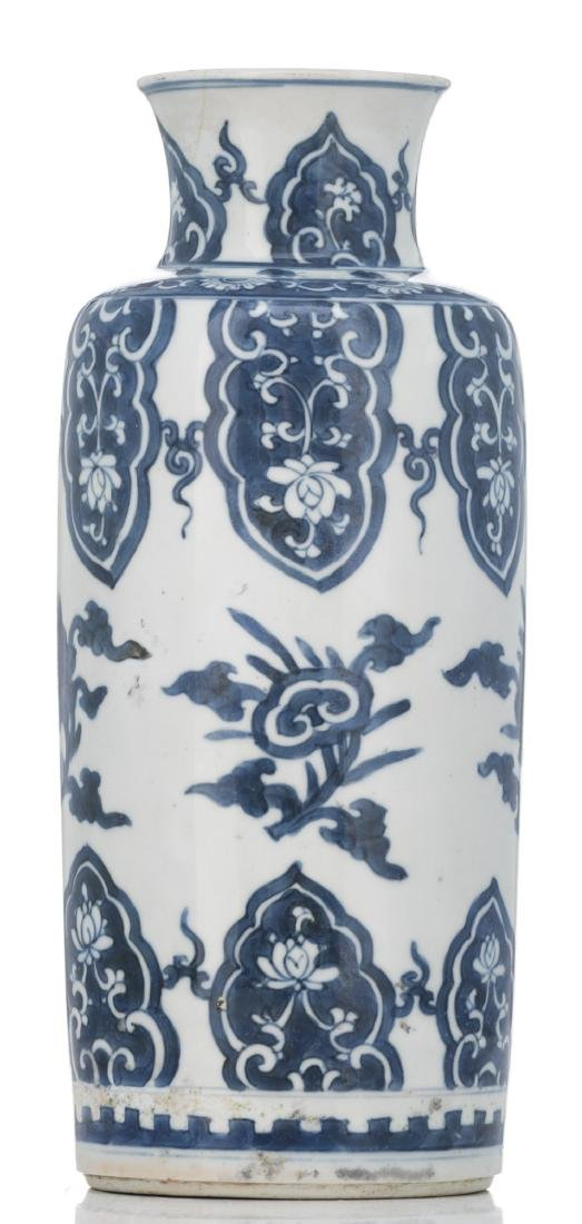 A Chinese blue and white cylindrical vase, decorated - 2