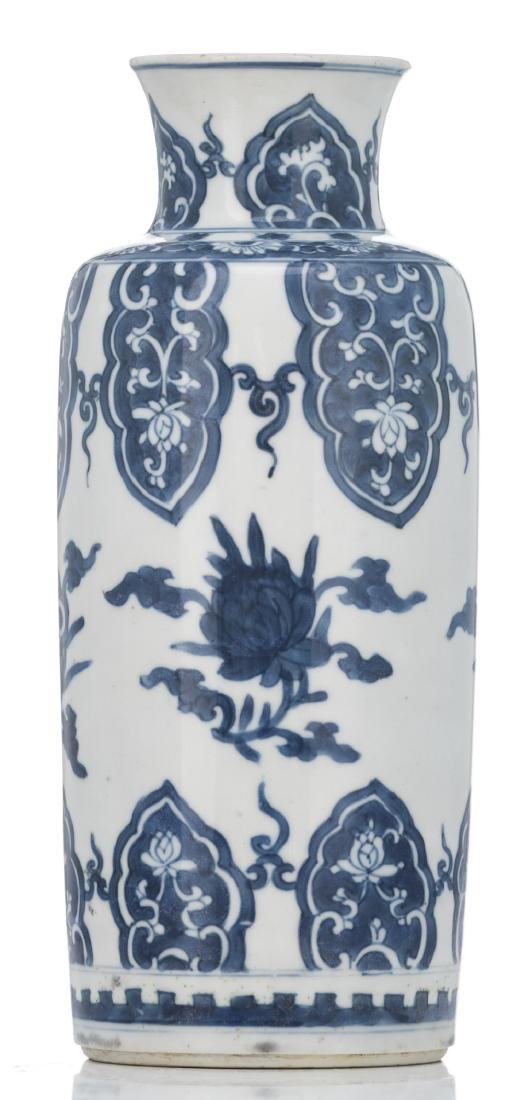 A Chinese blue and white cylindrical vase, decorated - 3