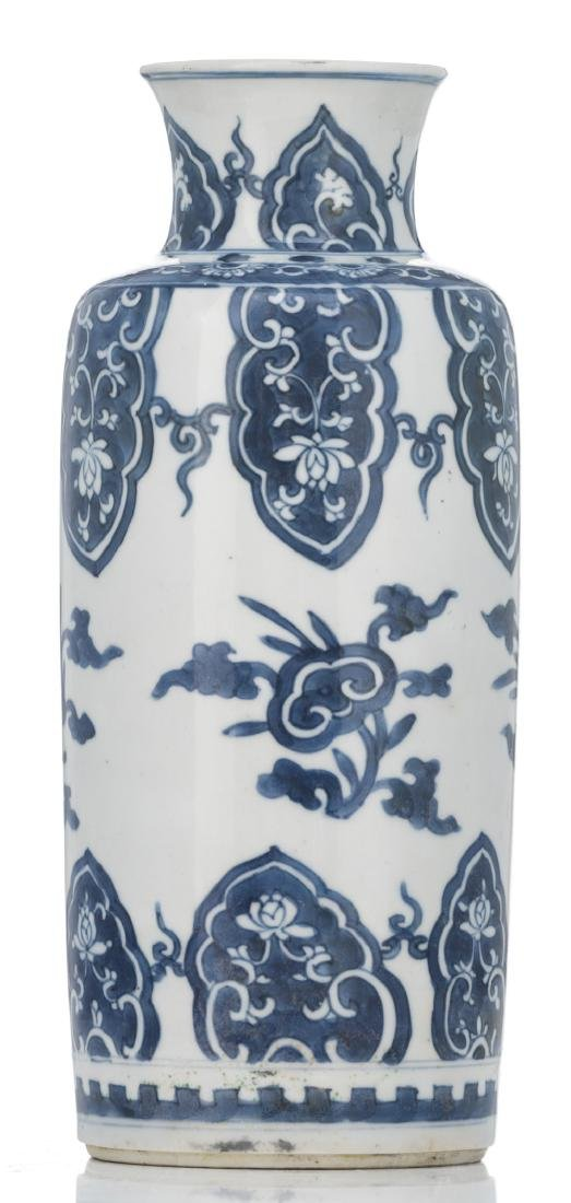 A Chinese blue and white cylindrical vase, decorated - 4