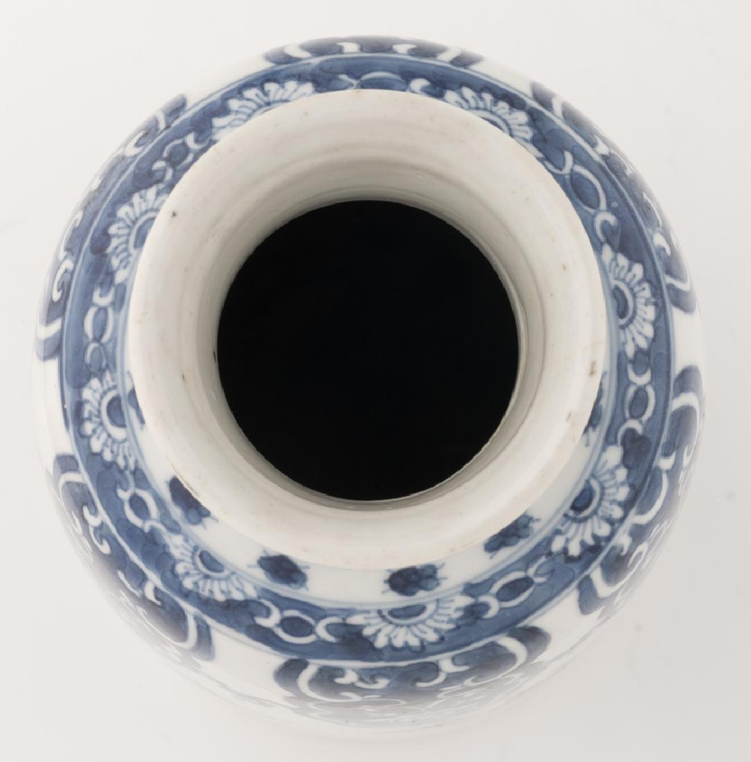 A Chinese blue and white cylindrical vase, decorated - 5